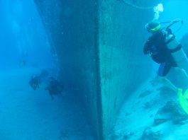 Barge wreck on dive cozumel